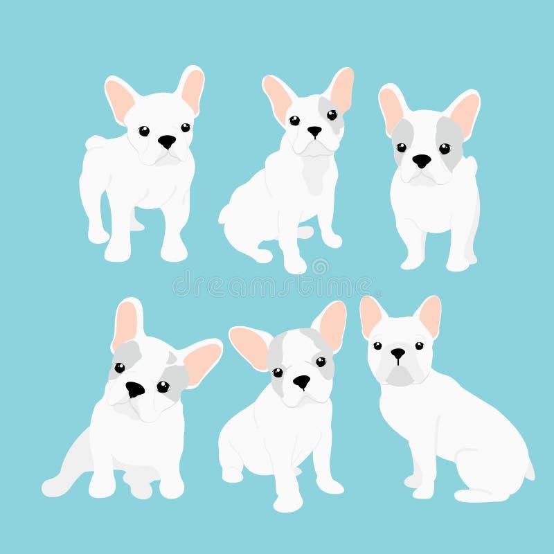 Vektorillustrationen stellten von der netten kleinen französischen Bulldogge in den verschiedenen Positionen ein Lustiger glückli lizenzfreie abbildung
