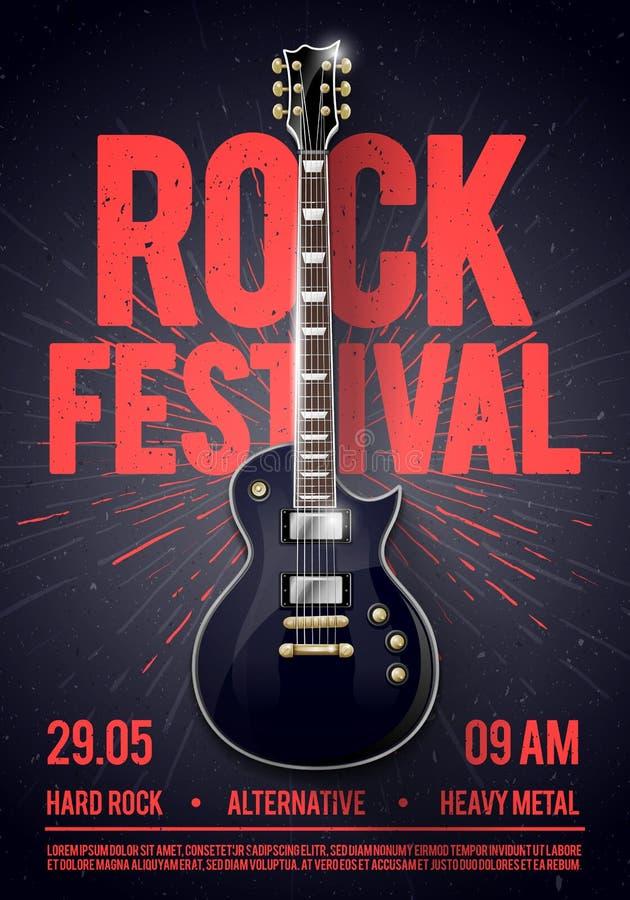 Vektorillustrationen vaggar reklambladet för festivalkonsertpartiet, eller posterdesignmallen med gitarren, förlägger för text oc stock illustrationer