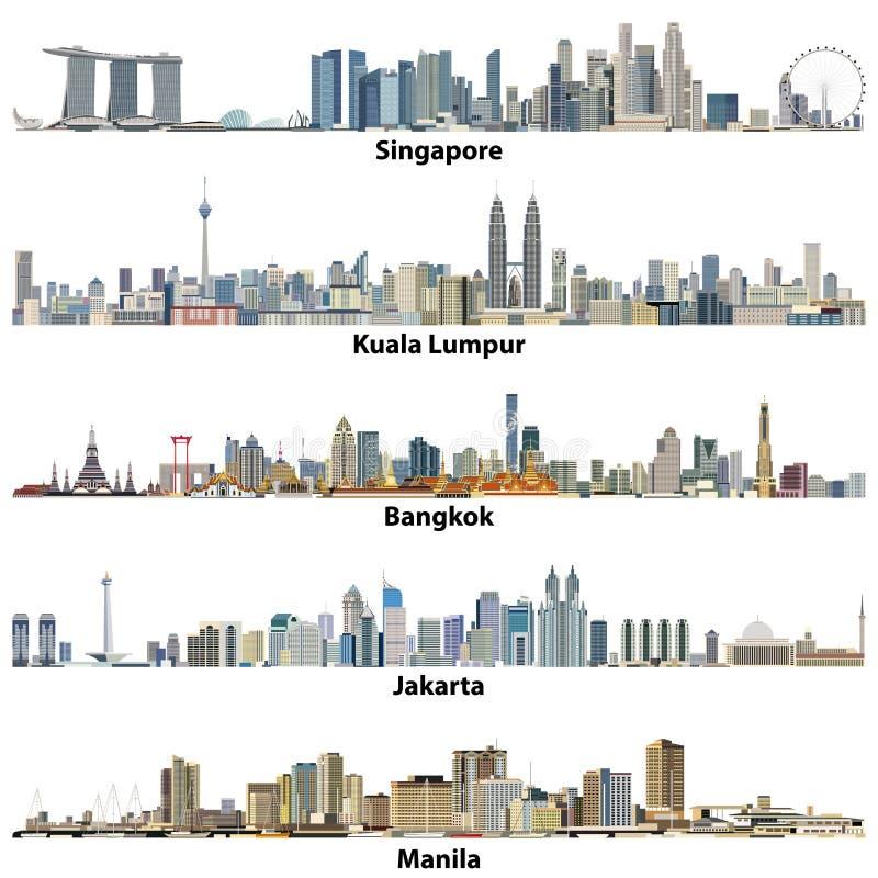 Vektorillustrationer av asiatisk citiesSingapore, Kuala Lumpur, Bangkok, Jakarta och Manila horisonter vektor illustrationer
