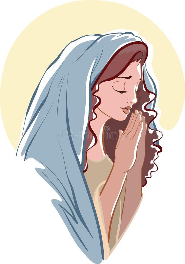 Vektorillustrationer av be jungfruliga Mary på vit royaltyfri fotografi