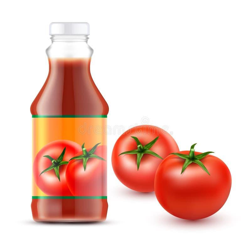 Vektorillustrationer av den genomskinliga flaskan med tomatketchup och två nya röda tomater vektor illustrationer