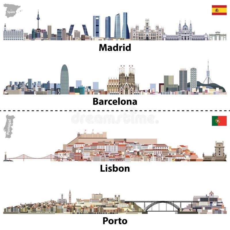Vektorillustrationer av Madrid, Barcelona, Lissabon och Porto stadshorisonter Översikter och flaggor av Spanien och Portugal royaltyfri illustrationer