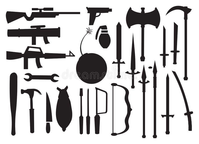 Vektorillustrationer av olika hjälpmedel och vapen stock illustrationer
