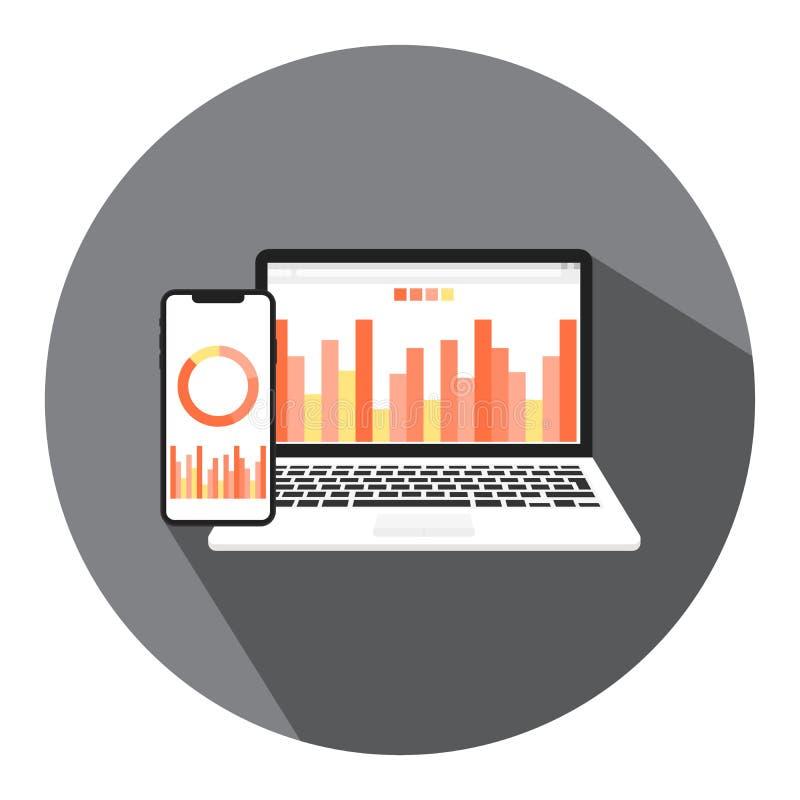 Vektorillustrationer av online-affären, den finansiella affären och pengarrapporten med begreppet av online-ledning av finansiell royaltyfri illustrationer