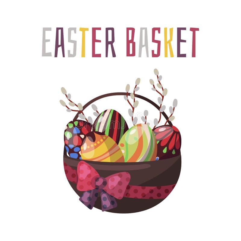 Vektorillustrationer på påsktemakorgen med kulöra ägg för choklad och vårblommor stock illustrationer