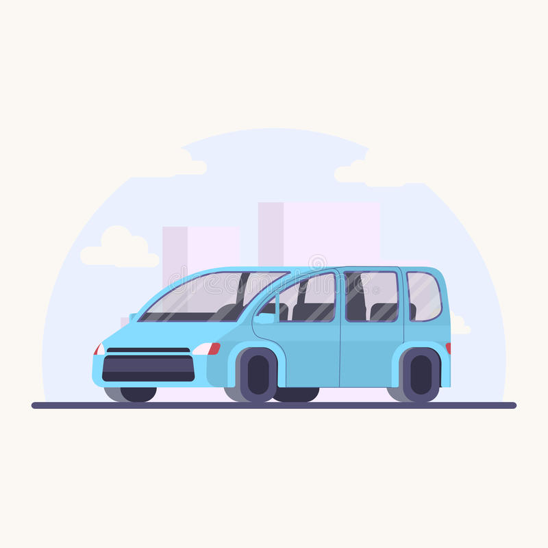 Vektorillustrationfamiljebil Minivan i plan stil royaltyfri foto