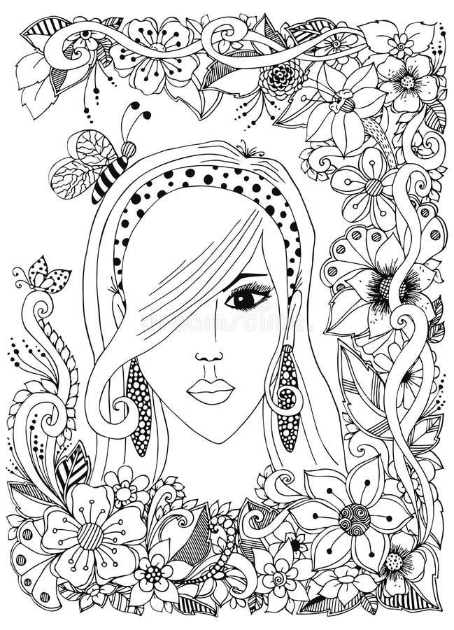 Vektorillustrationflicka med asiatiskt hår för zentanglebiinher Klotterramblommor Zenart anti--spänning Vuxen färgläggning royaltyfri illustrationer