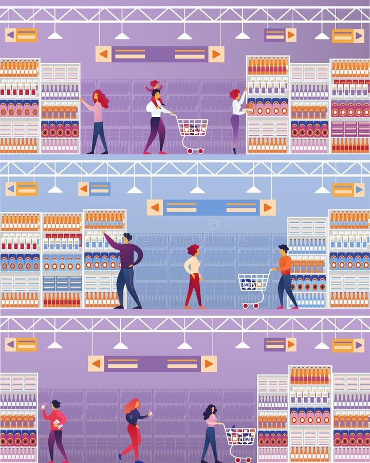 Vektorillustrationfolket besöker supermarket royaltyfri illustrationer
