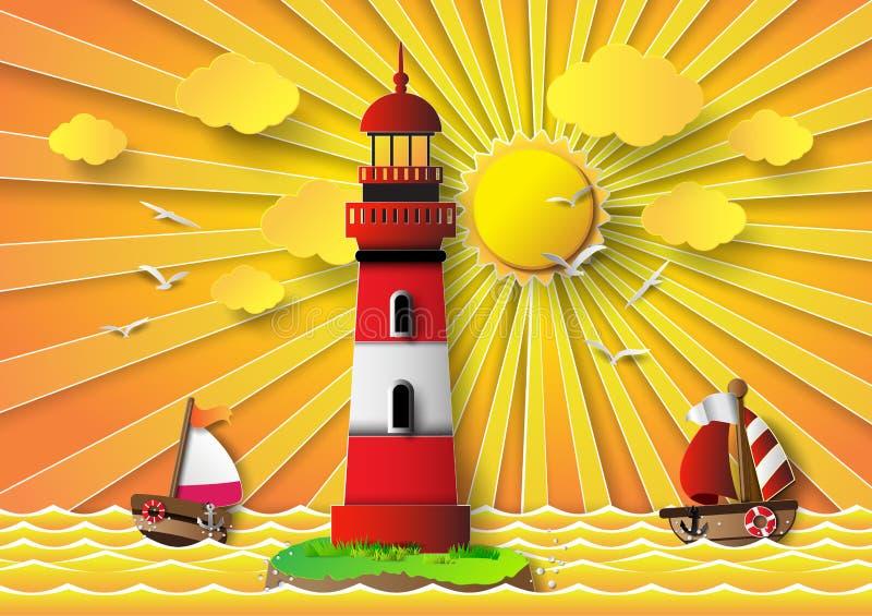Vektorillustrationfyr med seascape royaltyfri illustrationer