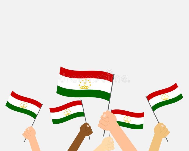 Vektorillustrationhänder som rymmer Tadzjikistan flaggor vektor illustrationer