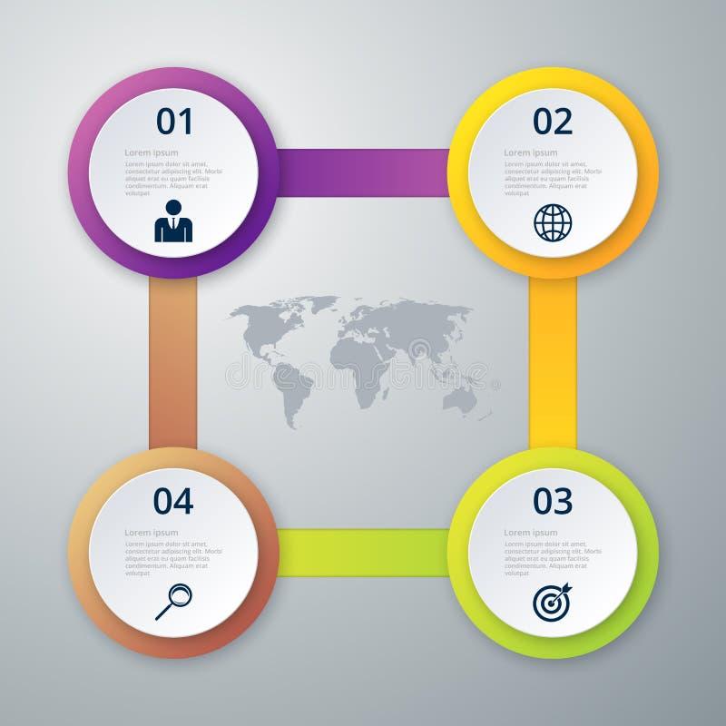 Vektorillustrationinfographics fyra cirklar stock illustrationer