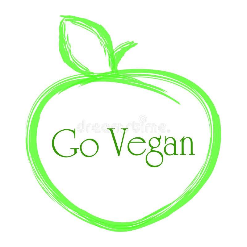 Vektorillustrationinskriften går strikt vegetarian stock illustrationer