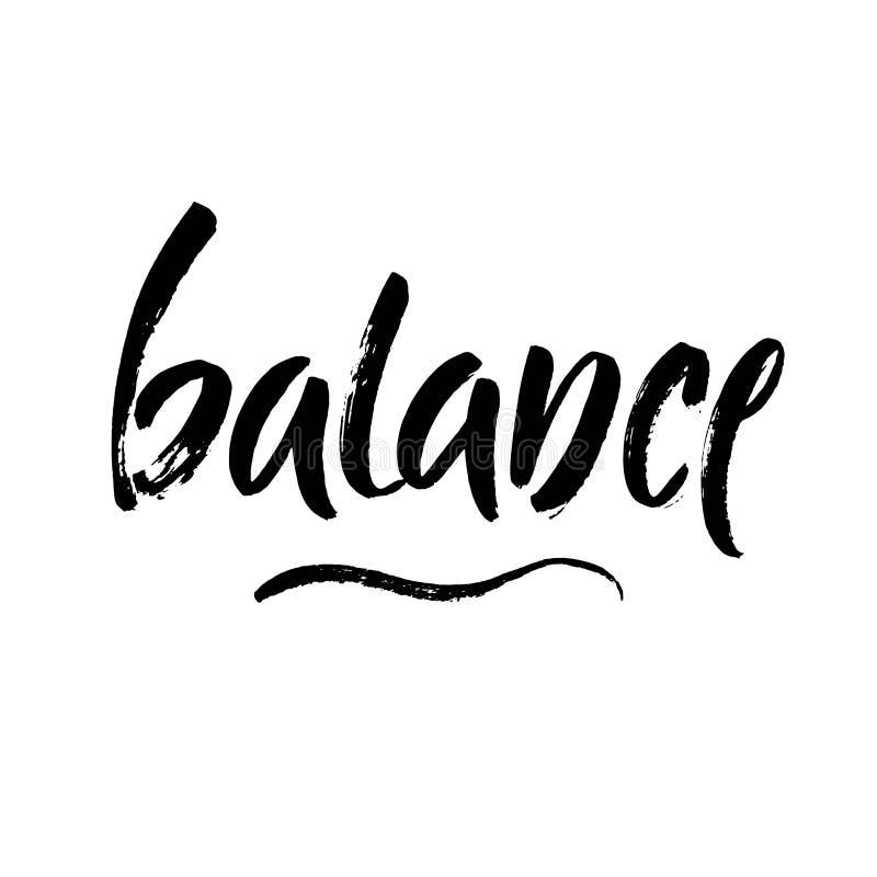 Vektorillustrationjämvikt Skriftligt ord för hand med svart färgpulver bakgrund isolerad white Modern borstekalligrafi Yoga medi stock illustrationer