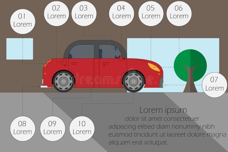 Vektorillustrationkontroll bilen, innan den kör, tömmer utrymme för text arkivbilder