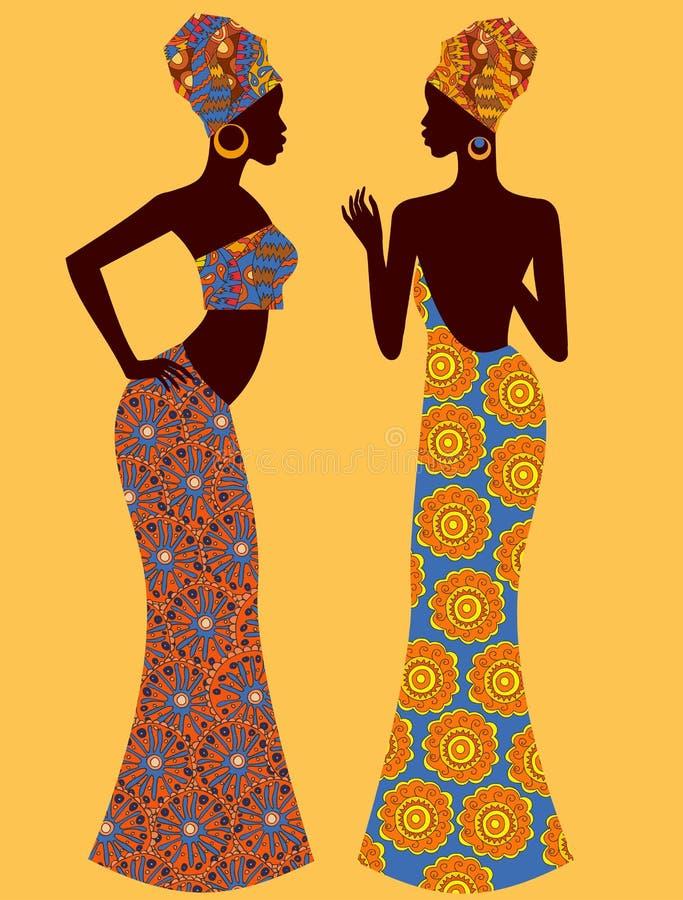 Vektorillustrationkontur av en härlig afrikansk kvinna royaltyfri illustrationer