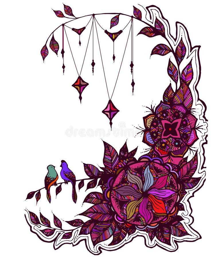 Vektorillustrationkort med blom- zentangle som klottrar royaltyfri illustrationer