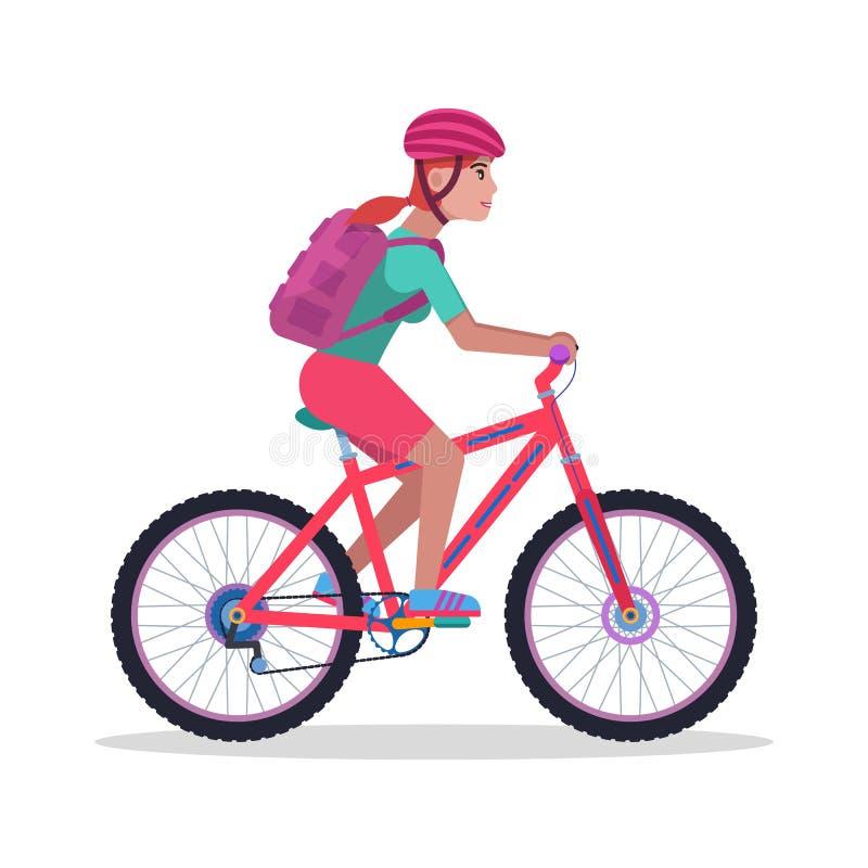 Vektorillustrationkvinna på en bergcykel vektor illustrationer