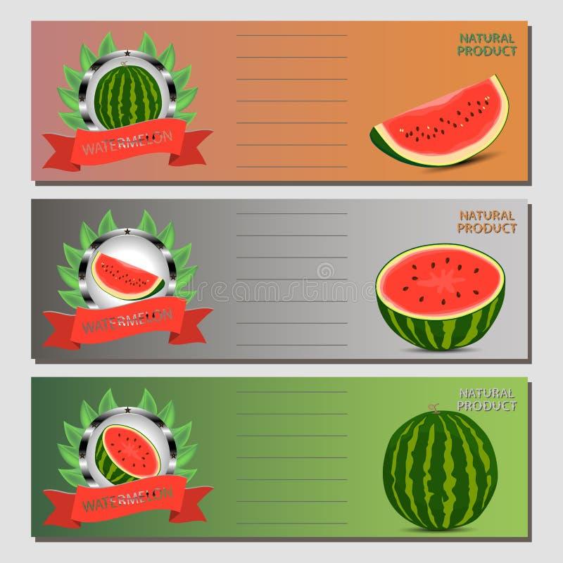 Vektorillustrationlogo för den hela mogna röda fruktvattenmelon, grön stam, klippt halva, skivat skivabär med röda kött stock illustrationer