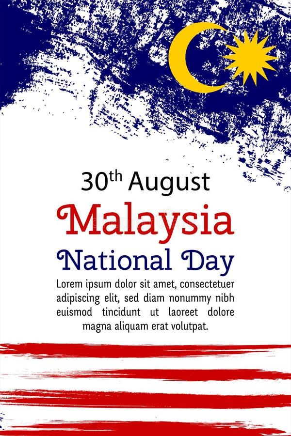 VektorillustrationMalaysia nationell dag, Malaysia flagga i moderiktig grungestil 30 den Augusti designmallen för affischen, bane royaltyfri illustrationer