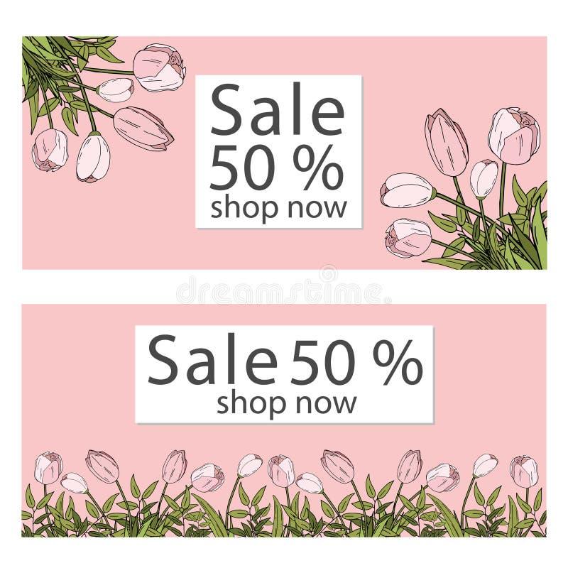 Vektorillustrationmall försäljningsbanersamling för sociala massmediabaner, rengöringsdukdesign, att shoppa som är on-line, affis royaltyfri illustrationer
