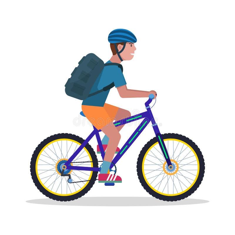 Vektorillustrationman på en bergcykel stock illustrationer