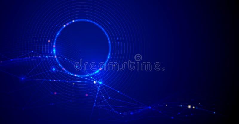 Vektorillustrationmolekylen, f?rband linjer med prickar, teknologi p? bl? bakgrund Abstrakt design för internetnätverksanslutning royaltyfri illustrationer