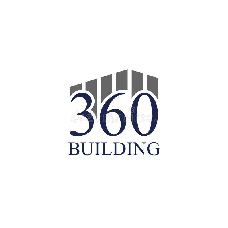 Vektorillustrationnummer och byggande symbolslogodesign royaltyfri illustrationer