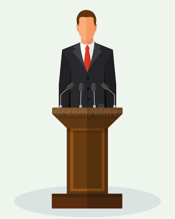 Vektorillustrationpolitiker Man Giving Speech vektor illustrationer