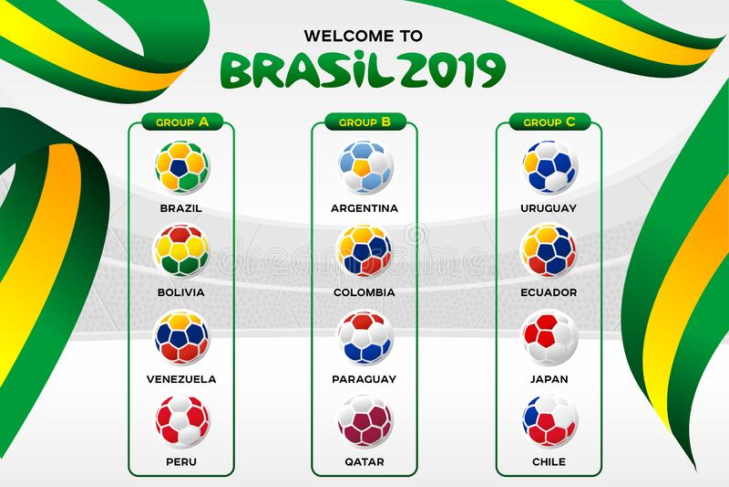 Vektorillustrationresultat och stående turnering för tabellfunktionskortmästerskap i Brasilien royaltyfri illustrationer