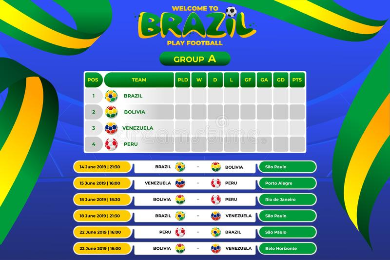 Vektorillustrationresultat och st?ende turnering f?r tabellfunktionskortm?sterskap i Brasilien stock illustrationer