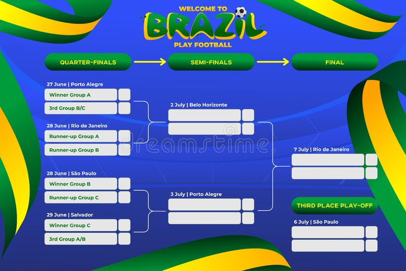Vektorillustrationresultat och st?ende turnering f?r tabellfunktionskortm?sterskap i Brasilien royaltyfri illustrationer