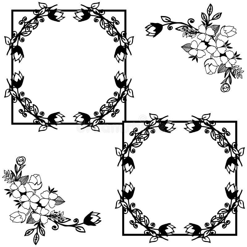 Vektorillustrations-Blattkranz gestaltet Blüte mit Grußkarte lizenzfreie abbildung