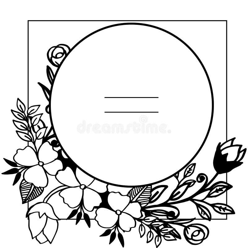 Vektorillustrations-Blattkranz gestaltet Blüte mit Grußkarte vektor abbildung