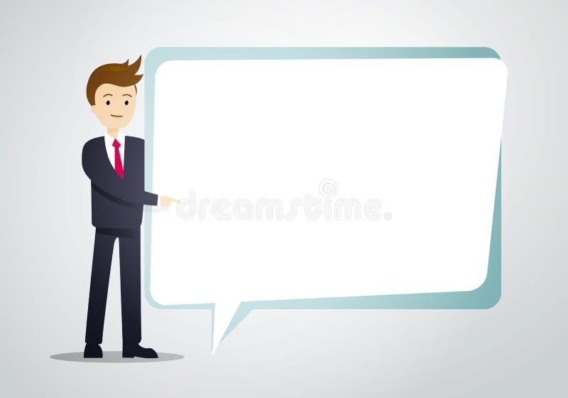 Vektorillustrations-Geschäftsmann-Griffsprache-Blasenblatt für Text stock abbildung