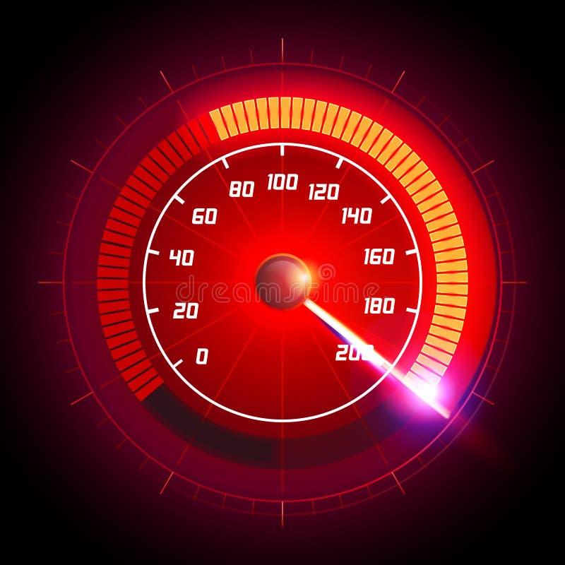 Vektorillustrations-Geschwindigkeitsbewegung mit schnellem Geschwindigkeitsmesserauto Laufen des Geschwindigkeitshintergrundes lizenzfreie abbildung