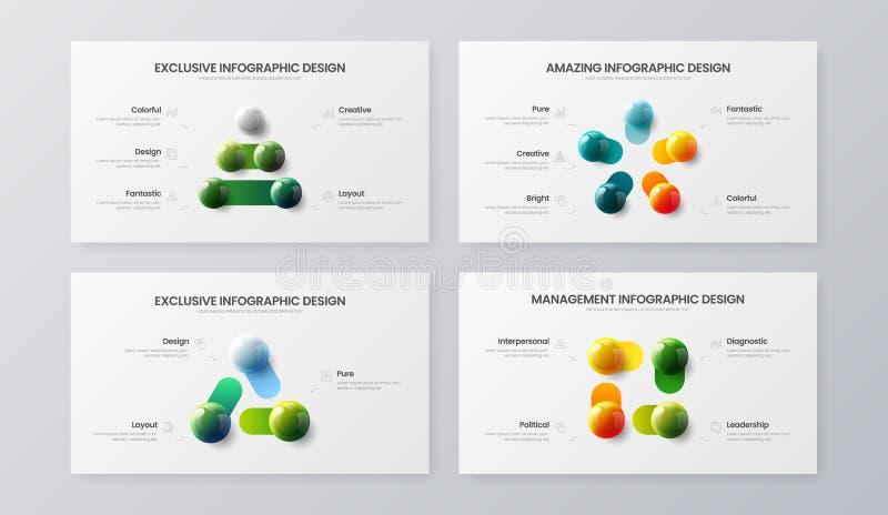 3, 4, Vektorillustrations-Schablonenbündel mit 5 Schritt vermarktendes Analytics Sichtbarmachungsentwurfs-Sammlungsplan der komme lizenzfreie abbildung