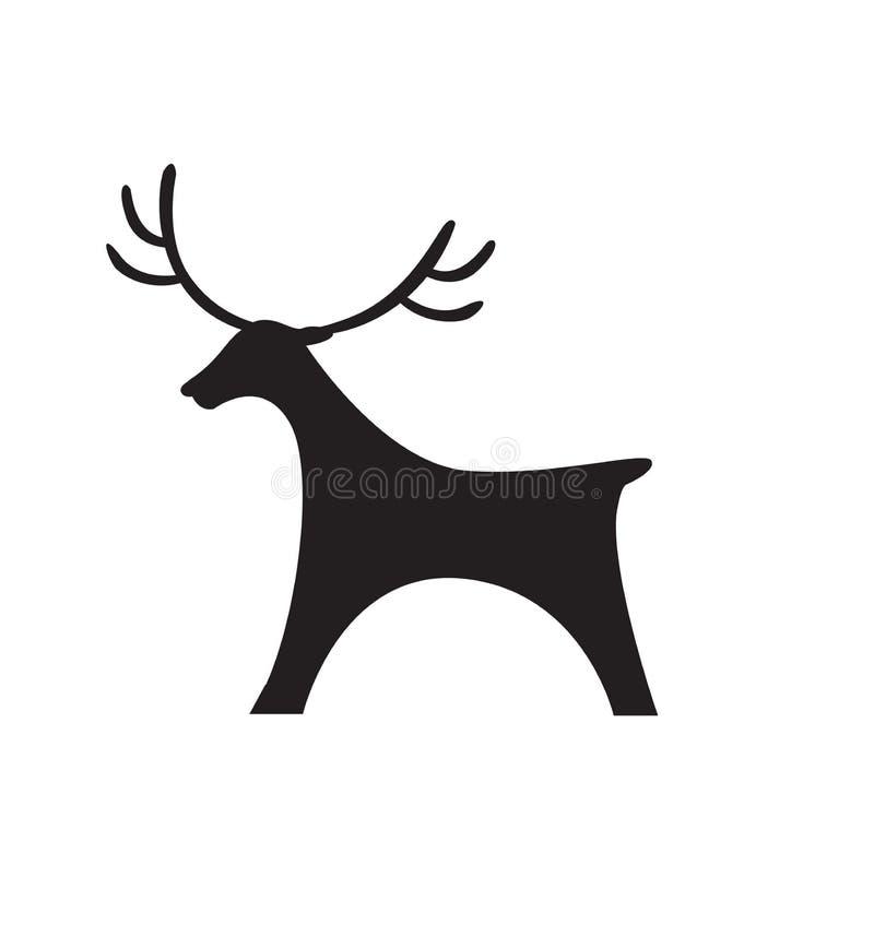 Vektorillustrations-Schattenbildweihnachten des Rotwildikonenschwarzschattenbildspielzeugs flaches lokalisiert auf Weiß stock abbildung