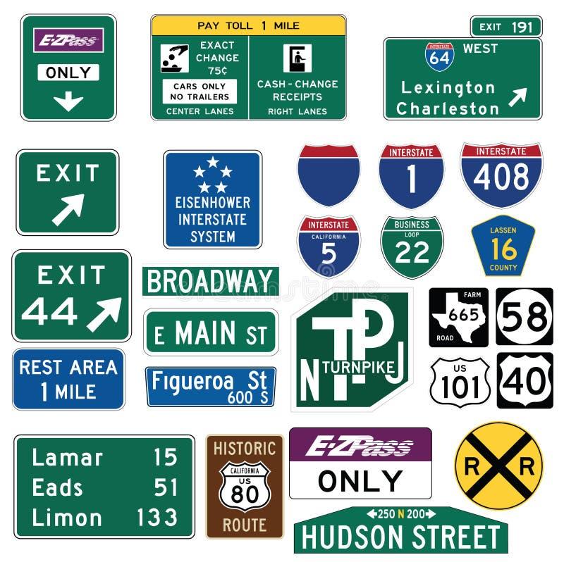 Trafikera vägleder tecken i Förenta staterna royaltyfri illustrationer