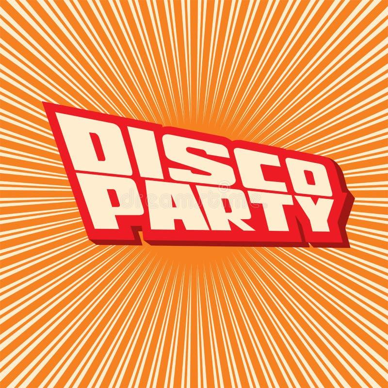 Vektorillustrationsaufschrift Disco-Partei lizenzfreie abbildung