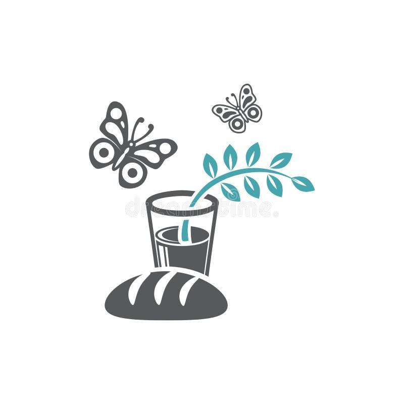 Vektorillustrationsbrot, -schmetterlinge und -glas mit Wasser und einer grünen Niederlassung mit Broschüren vektor abbildung