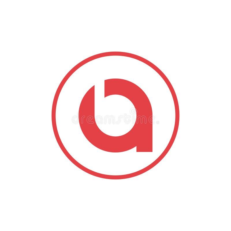 Vektorillustrationsbuchstabe ein negativer Raumbuchstabe b mit roter Farbe des Kreisikonenlogoentwurfs lizenzfreie abbildung