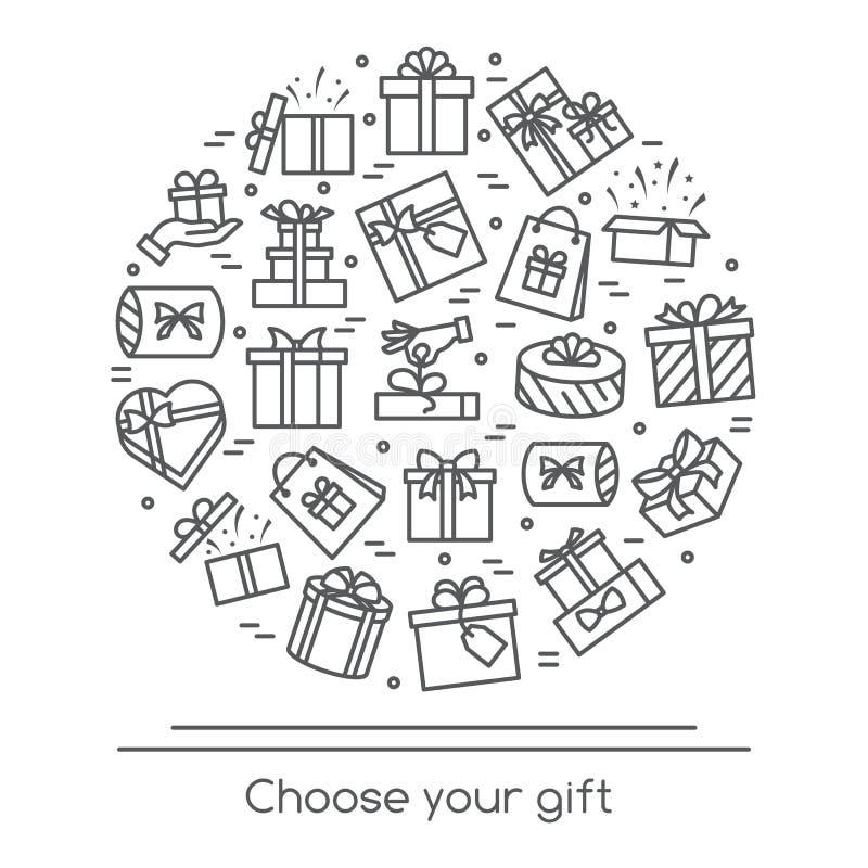 Vektorillustrationsfahne mit eingewickelten Geschenkboxpiktogrammen mit dem editable Anschlag gesammelt in der Form des Kreises stock abbildung