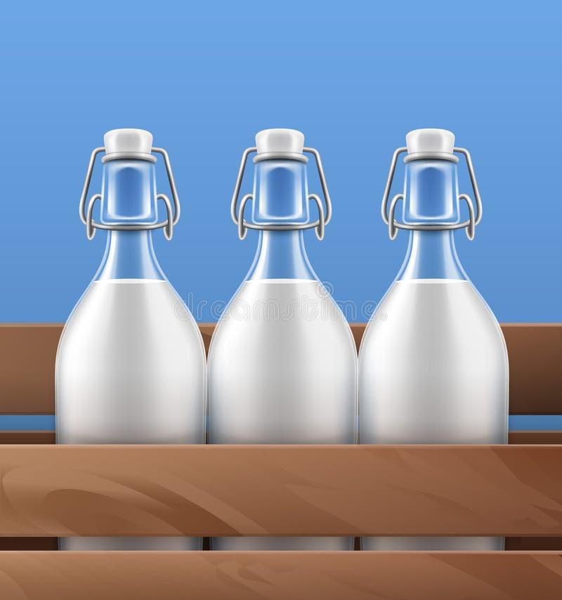 Vektorillustrationsgroßaufnahme von Glasflaschen mit Schwingenspitzenschließungen der frischen Milch in der Holzkiste auf Hinterg vektor abbildung