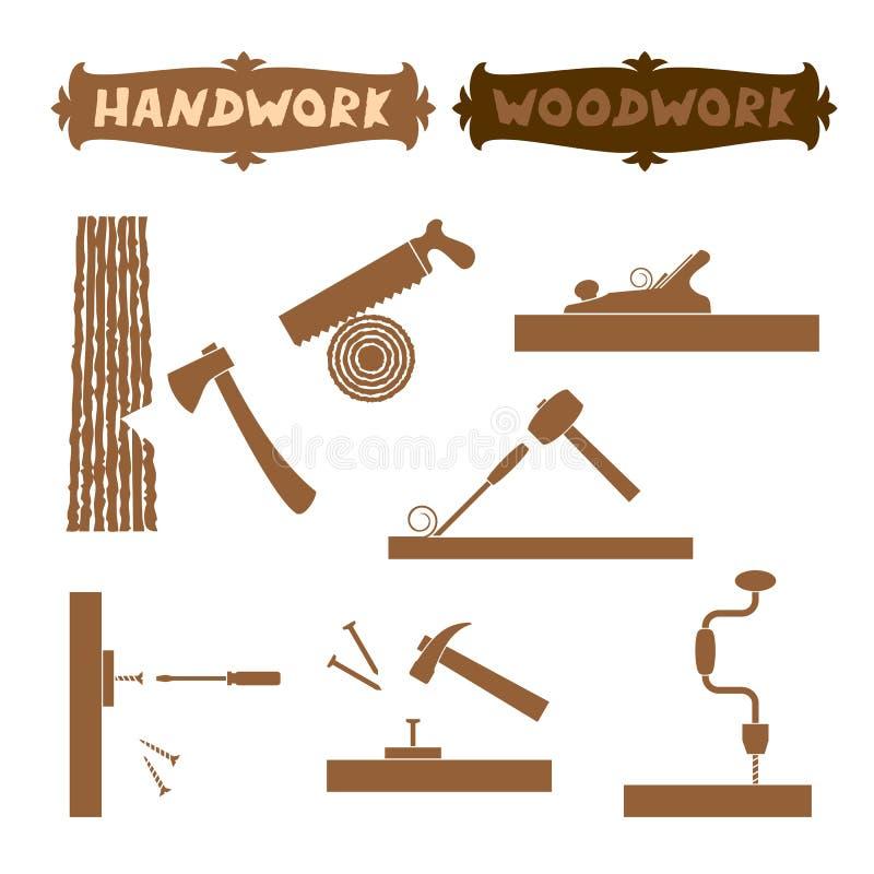 Vektorillustrationsholzarbeithandwerkzeugschattenbild stellte mit gezeigten Arbeitsprozess- und Zeichenbrettern mit Wörter Handar lizenzfreie abbildung