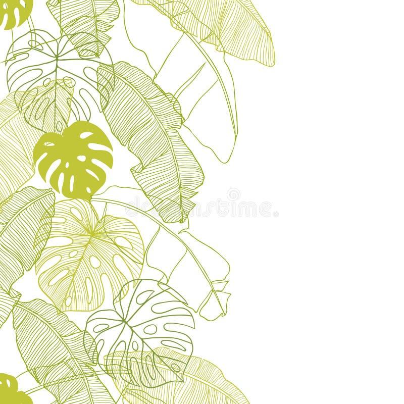 Vektorillustrationsidor av palmträdet seamless vektor illustrationer