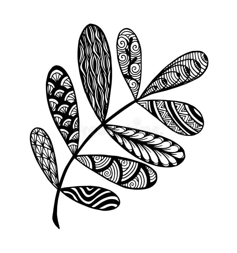 Vektorillustrationsidor och i klotterstil Blom-, utsmyckade, dekorativa stam- vektordesignbest?ndsdelar royaltyfri illustrationer