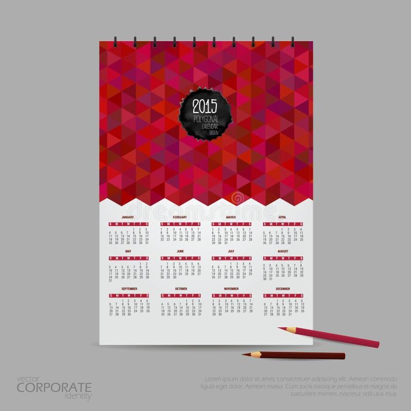 Vektorillustrationskalender für 2015 Markenidentitäts-Firmenartschablone stockfoto
