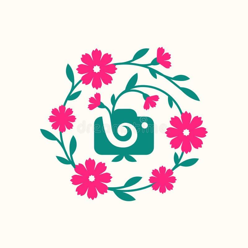 Vektorillustrationskonzept der Fotografiekameralogo-Ikonenschablone mit Blume vektor abbildung