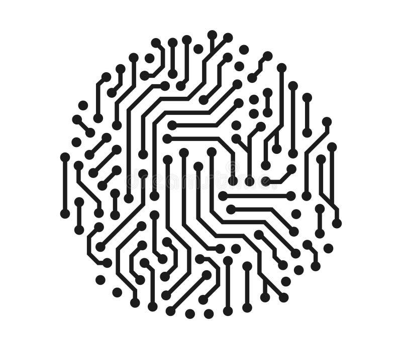 Vektorillustrationskonzept der technischen Stromkreiskreisgraphik Ikone auf weißem Hintergrund stock abbildung