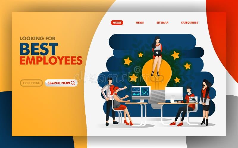 Vektorillustrationskonzept des besten Angestellten, der die beste Idee gibt und spornen das Leutearbeiten besser an Bedienungsfre vektor abbildung